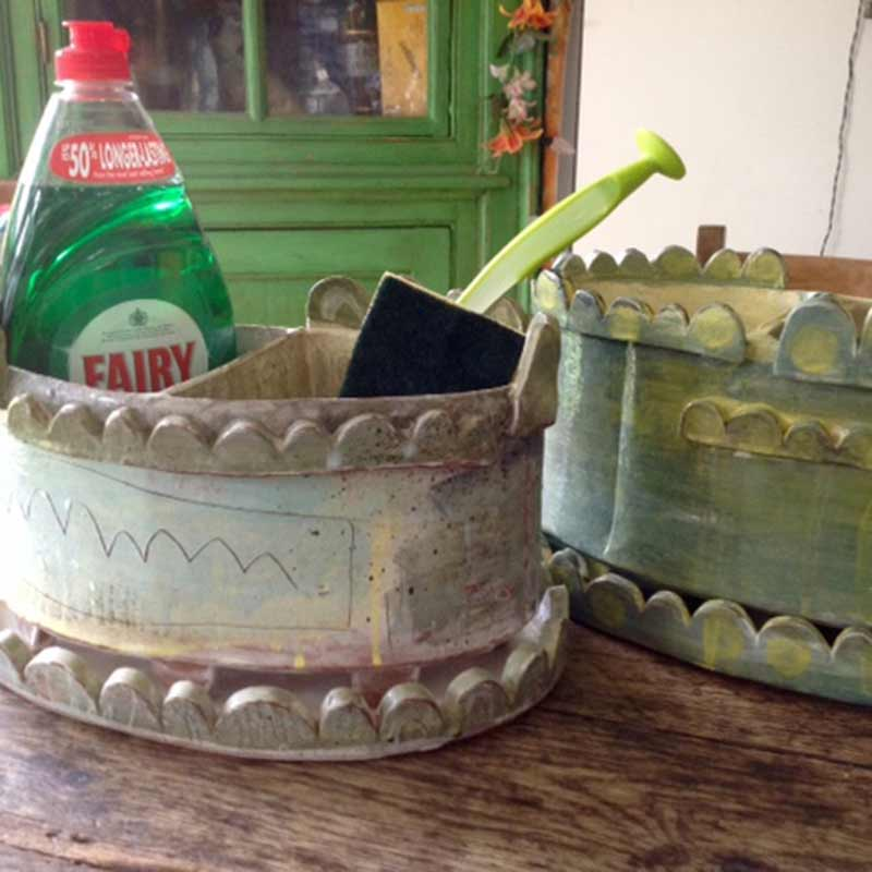 a ceramic washing up tidy utility pot like the one you will make in our pottery workshp in holt, wiltshire, uk