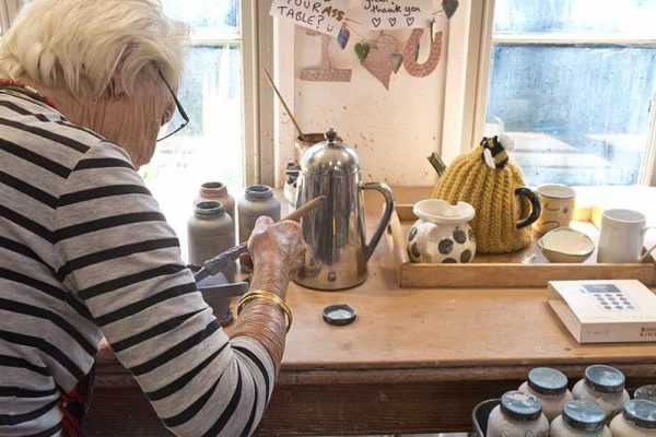 A student uses the studio independantly to make ceramics and pots near bath uk