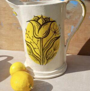 Illustrated ceramic jug