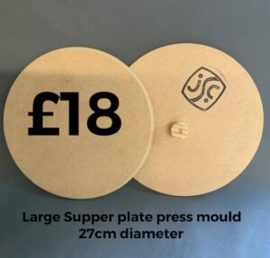 two wooden plate moulds showing front and back of mould with text explaining the sise and price of the mould