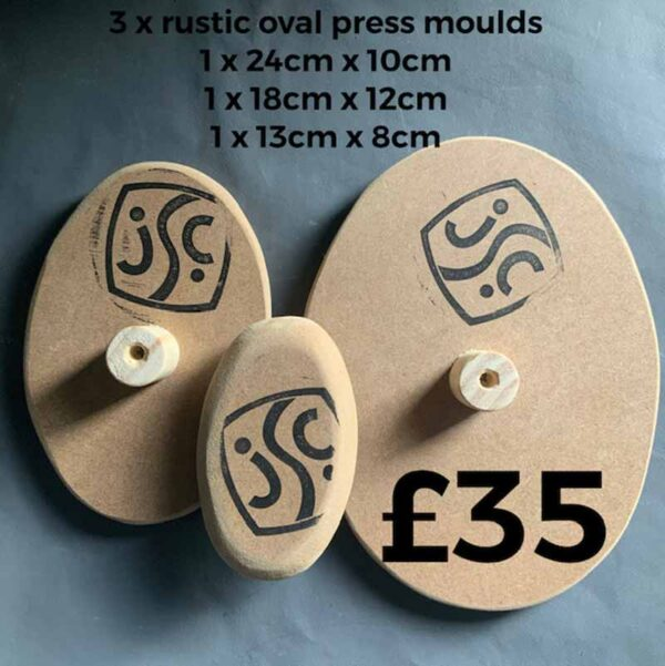 The fronts and backs of 3 wooden oval clay moulds that can be used to make ceramic plates