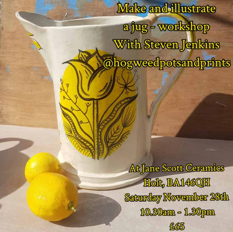 A beautiful handmade ceramic jug decorated with a yellow illustration of a flower, sitting insunlight with 2 lemons on the table beside it